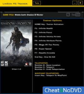 Middle-earth: Shadow of Mordor трейнер Trainer +11 v1.0 {LinGon}