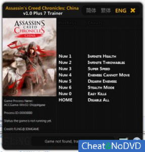 Assassin's Creed Chronicles: China трейнер Trainer +7 v1.0 {FLiNG}