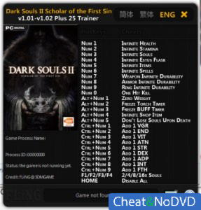 Dark Souls 2: Scholar Of The First Sin трейнер Trainer +25 v1.02 {FLiNG}