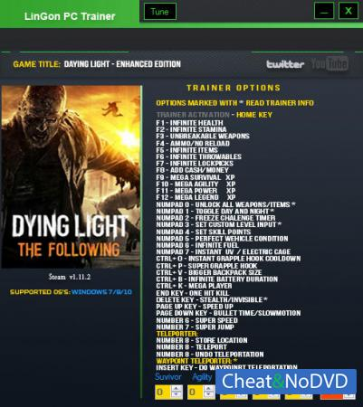 Dying Light: The Following трейнер Trainer +35 v1.11.2  {LinGon}