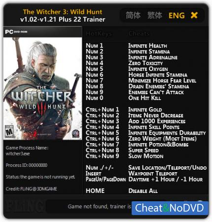 The Witcher 3: Wild Hunt трейнер Trainer +22 v1.02 - 1.21 {FLiNG}