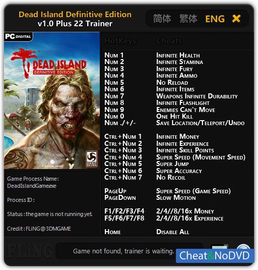Читы к игре Dead Island