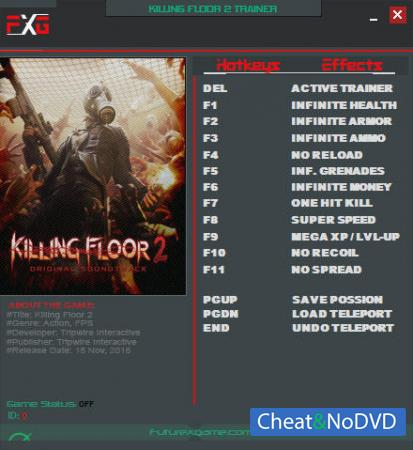 Killing Floor 2 трейнер Trainer +12 v1048 {FutureX}