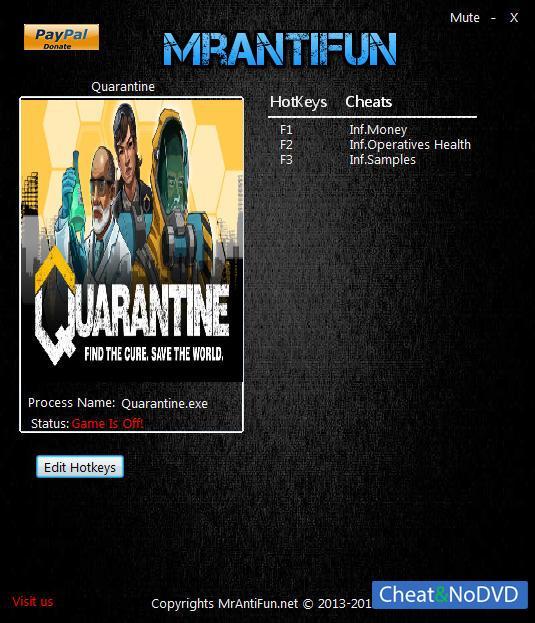 Скачать трейнер для quarantine