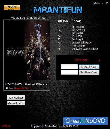 Middle-earth: Shadow of War трейнер Trainer +9 v1.02 {MrAntiFun}