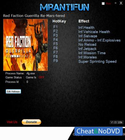 Red Faction Guerrilla Re-Mars-tered трейнер Trainer +10 v4931{MrAntiFun}