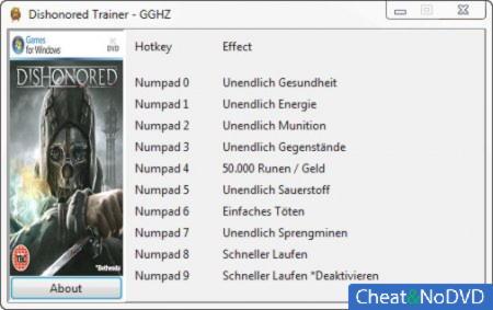 Dishonored трейнер +9 v1.0 {Chris/GGHZ}