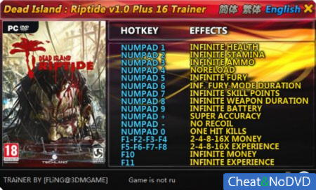 Dead Island: Riptide трейнер +16 v1.0 / 1.4.0 {FLiNG}