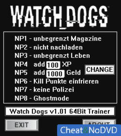 Watch Dogs трейнер +8 v1.01 {dR.oLLe}