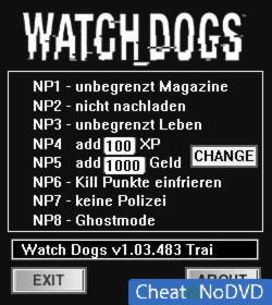 Watch Dogs трейнер +8 v1.03.483 {dR.oLLe}