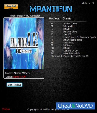 Final Fantasy X / X-2 HD Remaster трейнер Trainer +12 v1.00 {MrAntiFun}