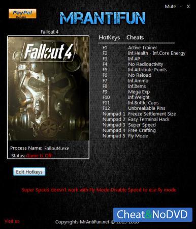 Fallout 4 трейнер Trainer +17 v1.5.307.0.1 {MrAntiFun}