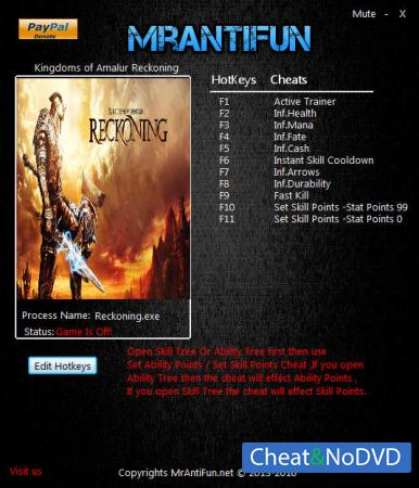 Kingdoms of Amalur: Reckoning трейнер Trainer +10 v1.0.0.2 {MrAntiFun}