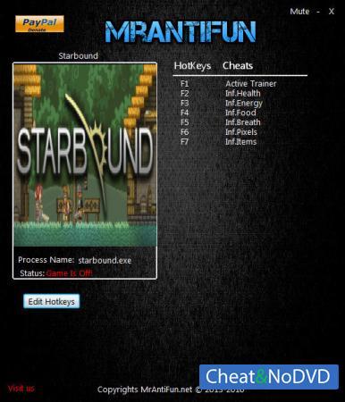 Starbound трейнер Trainer +6 v1.0.5 64bit {MrAntiFun}