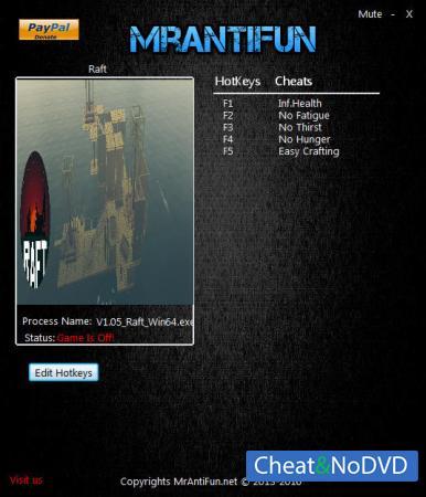 Raft трейнер Trainer +5 v1.05 64bit {MrAntiFun}