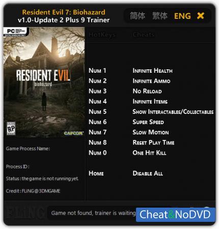 Resident Evil 7: Biohazard трейнер Trainer +9 v1.00 Update 2 {FLiNG}