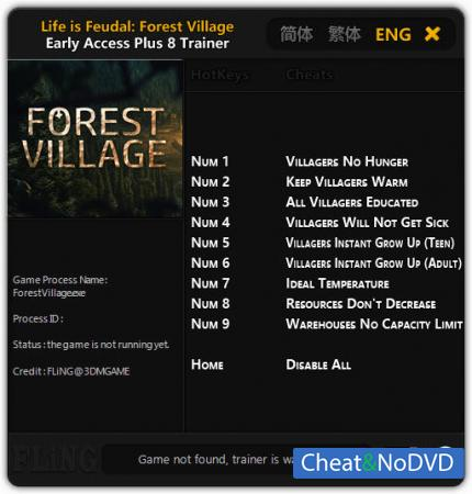 Life is Feudal: Forest Village трейнер Trainer +8 Early Access Updated 07.03.2017 {FLiNG}