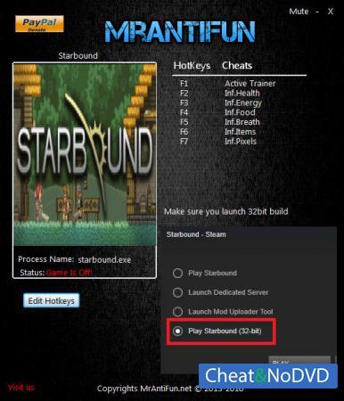 Starbound трейнер Trainer +6 v1.3.0 32bit {MrAntiFun}