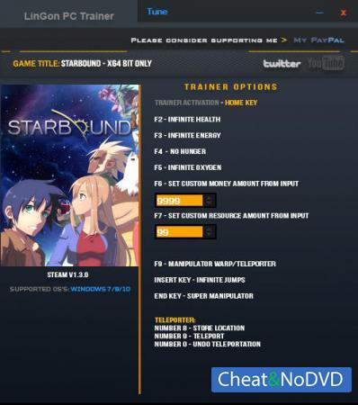 Starbound трейнер Trainer +11 v1.3.0 64 Bit {LinGon}