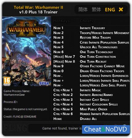 Total War: Warhammer 2 трейнер Trainer +18 v1.0 {FLiNG}