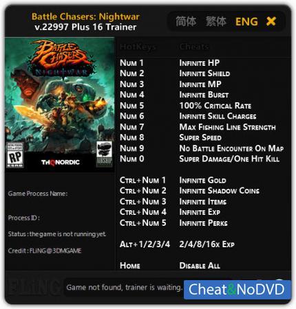 Battle Chasers: Nightwar трейнер Trainer +16 v.22997 {FLiNG}
