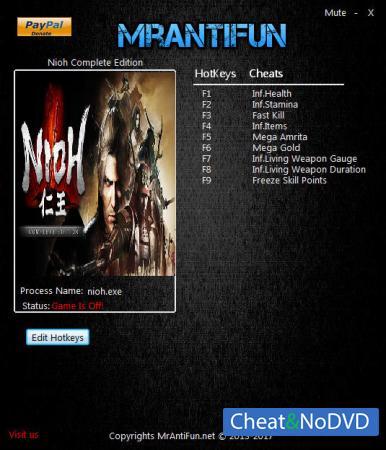 Nioh: Complete Edition трейнер Trainer +9 v1.21 {MrAntiFun}