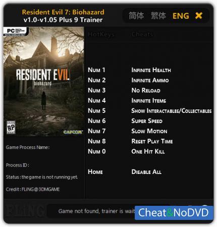 Resident Evil 7: Biohazard трейнер Trainer +9 v1.0 - 1.05 {FLiNG}
