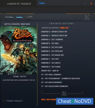 Battle Chasers: Nightwar трейнер Trainer +15 v23731 {LinGon}