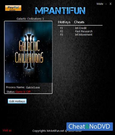 Galactic Civilizations 3 трейнер Trainer +3 v3.00 {MrAntiFun}