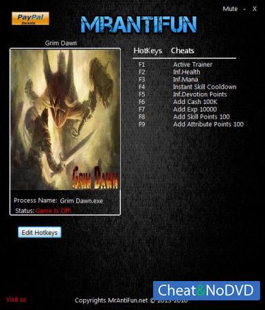 Grim Dawn трейнер Trainer +8 v1.0.6.0 {MrAntiFun}