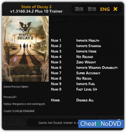 State of Decay 2 трейнер Trainer +10 v1.3160.34.2 {FLiNG}