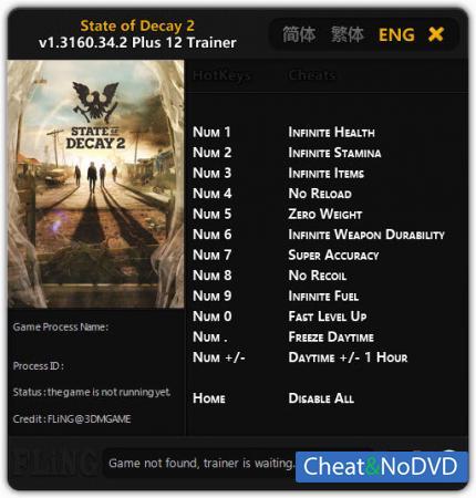 State of Decay 2 трейнер Trainer +12 v1.3160.34.2 {FLiNG}
