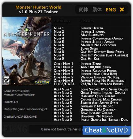 Monster Hunter: World трейнер Trainer +27 v1.0 {FLiNG}