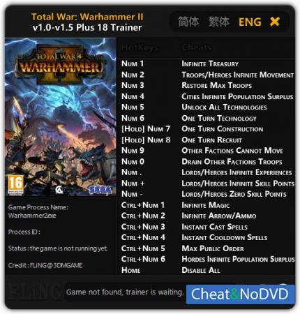Total War: Warhammer 2 трейнер Trainer +18 v1.5 {FLiNG}