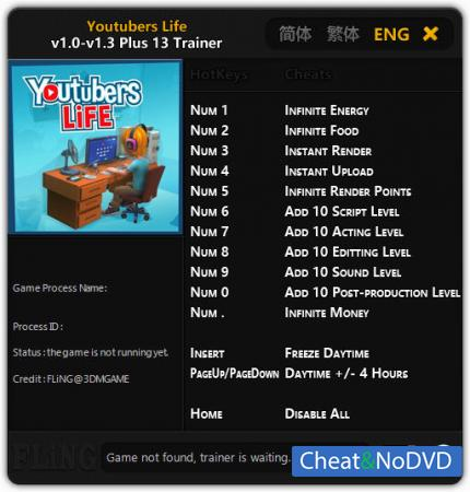 Youtubers Life трейнер Trainer +13 v1.3 {FLiNG}