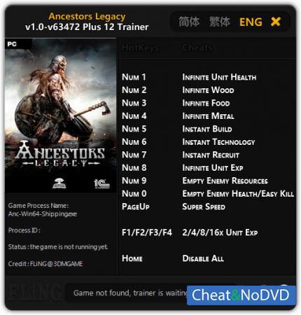 Ancestors Legacy трейнер Trainer +12 v63472 {FLiNG}