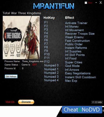 Total War: THREE KINGDOMS трейнер Trainer +16 v1.00 Build 9292 {MrAntiFun}