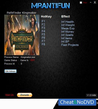 Pathfinder: Kingmaker трейнер Trainer +8 v2.0.2 {MrAntiFun}
