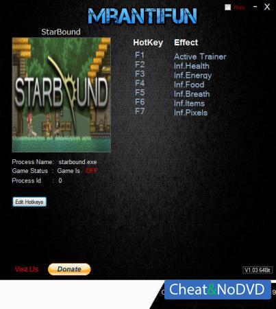 Starbound трейнер Trainer +6 v1.4.1 64bit {MrAntiFun}