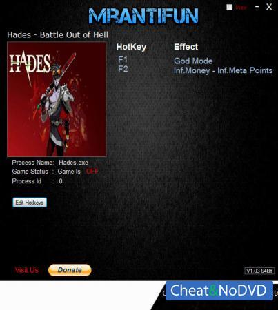 Hades - Battle Out of Hell трейнер Trainer +3 v0.18357 {MrAntiFun}