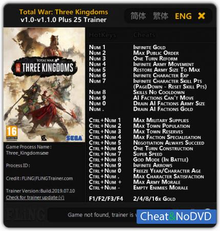 Total War: THREE KINGDOMS трейнер Trainer +25 v1.1.0 {FLiNG}