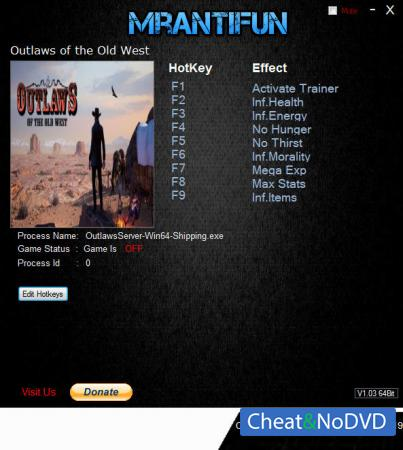 Outlaws of the Old West трейнер Trainer +8 v1.2.4 {MrAntiFun}