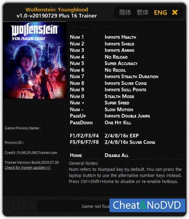 Wolfenstein: Youngblood трейнер Trainer +16 v29.07.2019 {FLiNG}