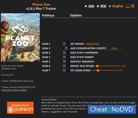 Planet Zoo трейнер Trainer +7 v1.0.1 {FLiNG}