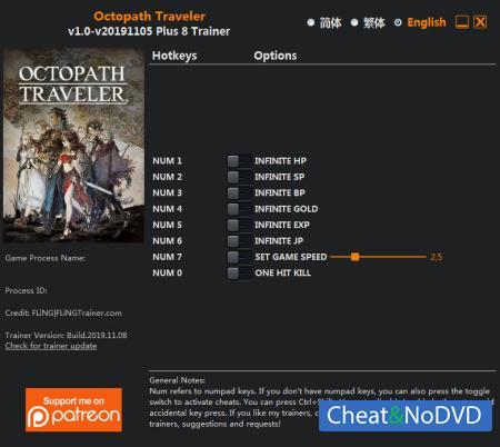 Octopath Traveler трейнер Trainer +8 v05.11.2019 {FLiNG}