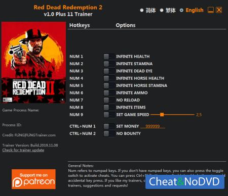 Red Dead Redemption 2 трейнер Trainer +11 v1.0 {FLiNG}