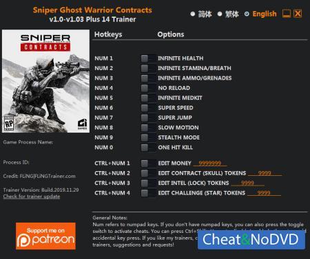 Sniper Ghost Warrior Contracts трейнер Trainer +14 v1.03 {FLiNG}