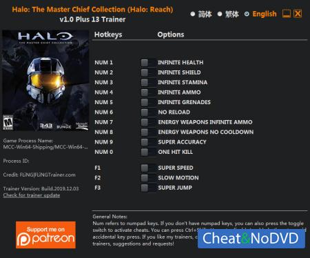 Halo: The Master Chief Collection трейнер Trainer +13 v1.0 {FLiNG}
