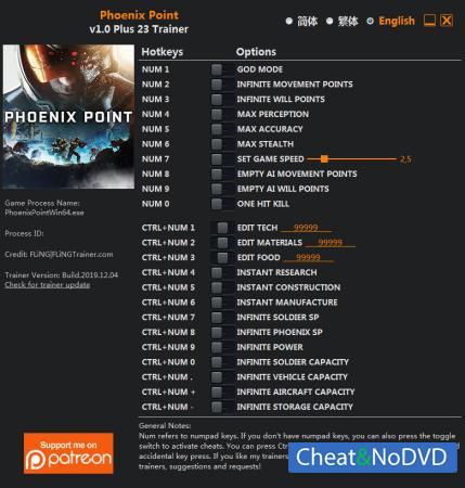 Phoenix Point трейнер Trainer +23 v1.0 {FLiNG}
