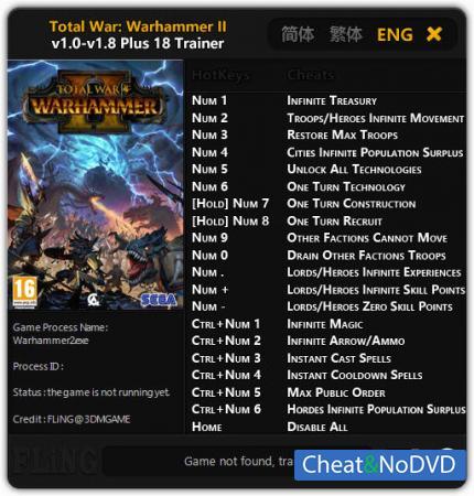 Total War: Warhammer 2 трейнер Trainer +18 v1.8 {FLiNG}